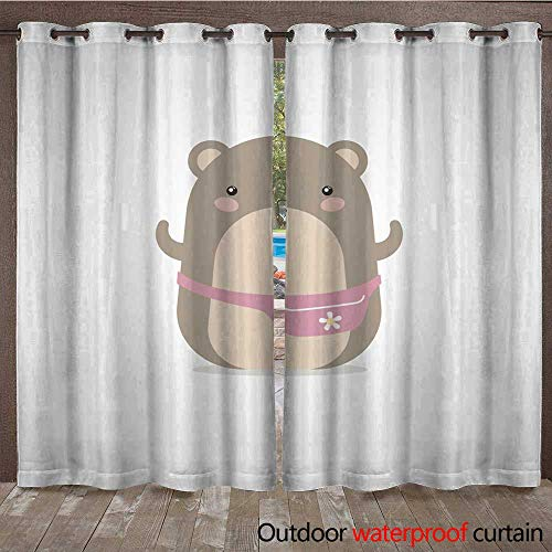 RenteriaDecor Outdoor Curtains for Patio Sheer Hamster Girl with a Pink Bag on The Belt W84 x L108 ()