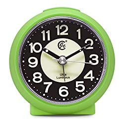 JCC Charming Luminous Small Round Handheld Size Non Ticking Quartz Bedside Desk Clock Travel Alarm Clock with Light Night, Snooze Function - Battery Operated (Matte- Green)