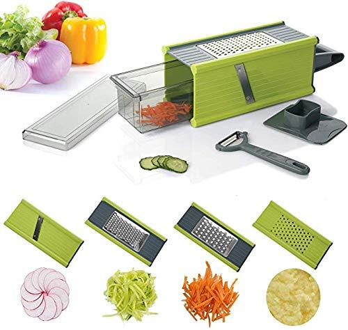 Kalokelvin Vegetable Slicer Spiralizer Mandoline Slicer, 5 in 1 Storage Container Stainless Steel 4 Sided Kitchen Hand Graters for Cheese, Ginger, Vegetables
