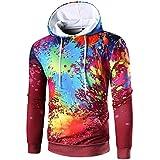 Ninasill Mens Autumn And Winter Long Sleeve Digital Print Hoodie Hooded Sweatshirt Tops Coat Outwear (L, Red)