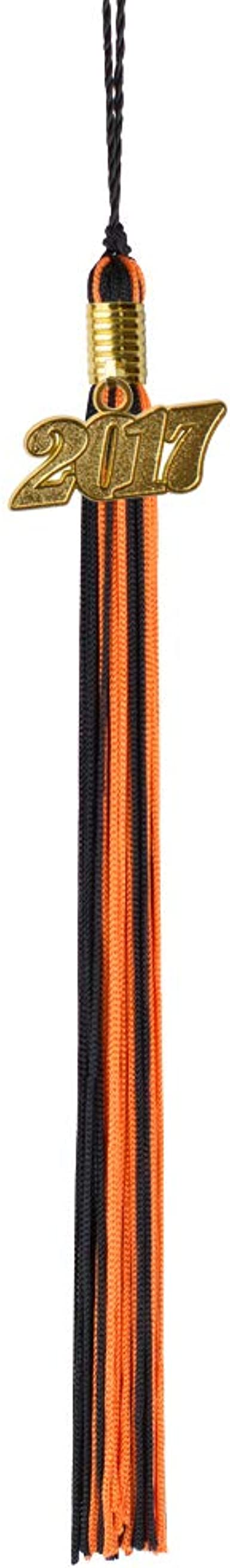 Graduation Tassels with Gold 2017 Year Charm Orange and Black