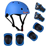 Lanova Kids Adjustable Sports Protective Gear Set Safety Pad Safeguard (Helmet Knee Elbow Wrist) Roller Bicycle BMX Bike Skateboard Hoverboard and Other Extreme Sports Activities (Blue)