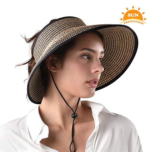 Sun Visor Hats for Women Wide Brim Straw Roll Up Ponytail Summer Beach Hat UV UPF 50 Packable Foldable Travel FURTALK (Womens Accessories Khaki : Clothing)