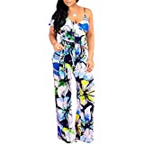 chimikeey Womens Jumpsuits Floral Printed One Shoulder Wide Leg Long Rompers with Belt