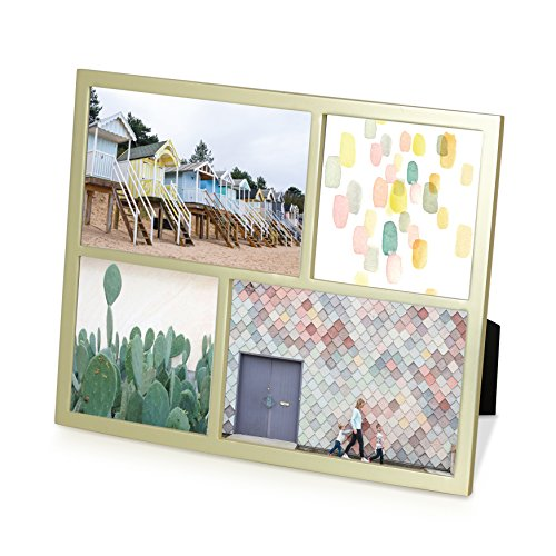 Umbra Senza Multi Photo Frame Metal Picture Frame, Modern, Thin Frame, Metallic - Matte Brass Finish