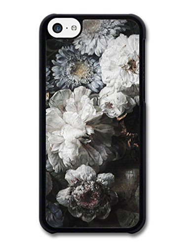 Rustic Retro Vintage Floral Painting Pattern in Black and White case for iPhone 5C
