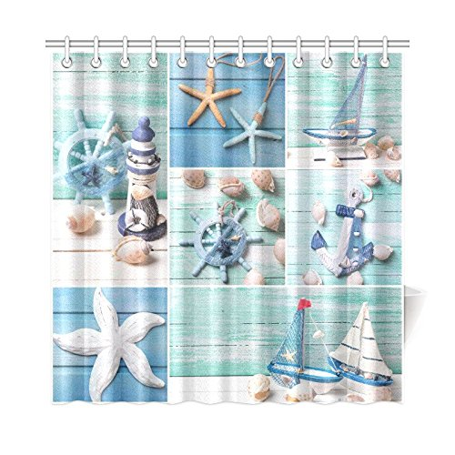 InterestPrint Sea Theme Sandy Beach Home Decor, Wooden Starfish Seashells Polyester Fabric Shower Curtain Bathroom Sets 72 X 72 Inches
