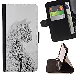 For HTC One M8 Winter Cat Branches Tree Grey Clean Minimalist Style PU Leather Case Wallet Flip Stand Flap Closure Cover