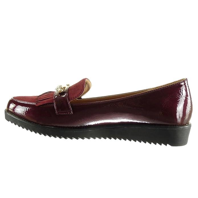 Angkorly - Zapatillas de Moda Mocasines slip-on mujer joyas fleco patentes Talón Plataforma 2.5 CM: Amazon.es: Zapatos y complementos