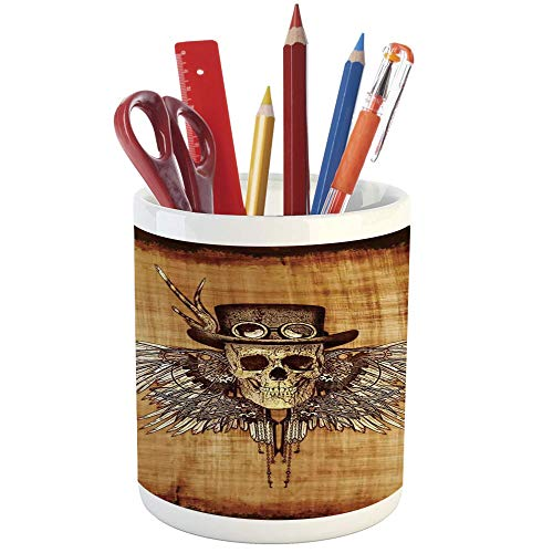 - Pencil Pen Holder,Skull,Printed Ceramic Pencil Pen Holder for Desk Office Accessory,Cool Skull Icon on Parchement Background Retro Style Dead on Eagle Wings Gothic