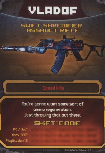 Borderlands 2 Swift Shredifier Assault Rifle DLC CARD SHIFT CODES