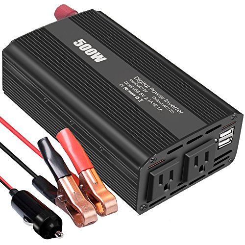 500W Auto Power Inverter Dc 12V To Ac 110V 120V Car Converter With 4.2A Dual Usb And 2 Ac Outlets For Smartphones, Tablet, Laptop,Nebulizer by Tellunow