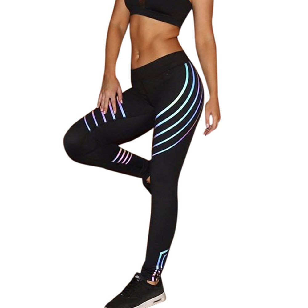 Red Ta Women Waist Yoga Fitness Leggings Running Gym Stretch Sports Striped Pants Trousers