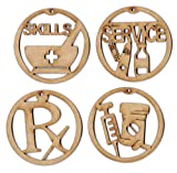 EP Laser Pharmacist Wooden Christmas Holiday Ornaments Decorations Set of 4