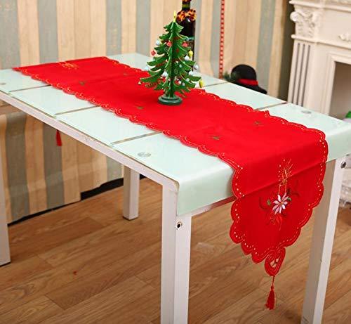 Santa Candle Xmastable Runner Sashes Cloth Christmas Santa Bell Cane Candle Design Tassel Weddingbed Table Runner Cloth Decoration