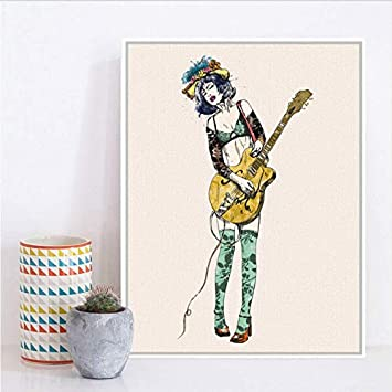 Djkaa Vintage Play Guitar Girl Pop Rock Roll Música A4 ...