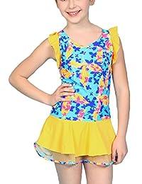 Pointss Girls' One Piece Swimsuit Floral Swim Dress Bathing Suit Beach Wear