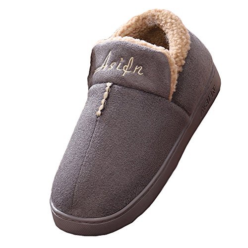 Hibote Winter Cotton Slippers/Plush Warm Soft Lined Slipper/Non Slip Slippers Wear Resistant Comfortable Blue Coffee Gray Pink 35 36 37 38 39 40 Gray