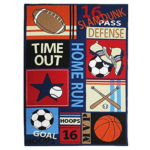 Abreeze Kids Rugs Soccer Baseball Football Basketball with Multi-Color for Boy Girl Playroom Bedroom 51x 39inch