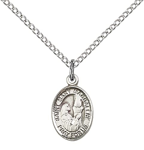 Sterling silver st mary magdalene pendant with 18 stainless steel sterling silver st mary magdalene pendant with 18quot stainless steel lite curb chain mozeypictures Gallery