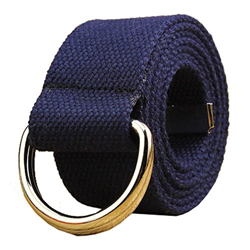 Canvas Web Belt Double D-ring Buckle 1 1/2 Inch Extra Long Metal Tip Solid Color