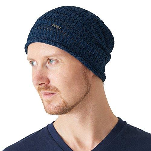 Blue Hemp Hat - Casualbox Natural Hemp Beanie Linen Knit Hat Sweat Wicking Hipster Mesh Summer Blue,Free Size