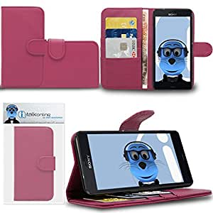 Pink Sony Xperia Z3 Compact Case Durable PU Leather Book Style Wallet Cover with Credit / Business Card Holder and Horizontal Viewing Stand