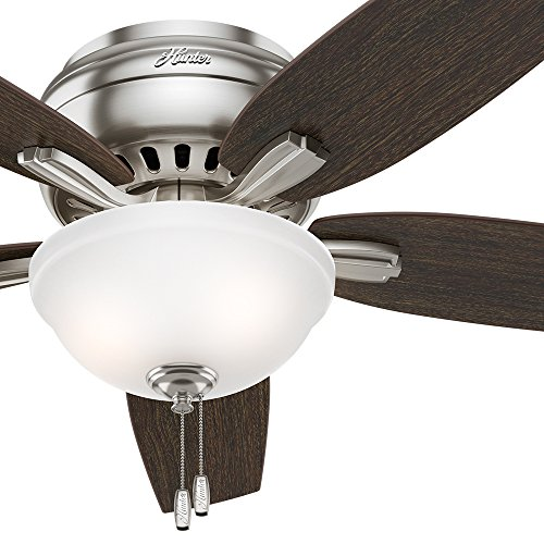 Hunter Fan 52' Hugger Ceiling Fan in Brushed Nickel with a Cased White Glass Light Kit, 5 Blade (Certified Refurbished)