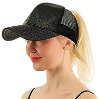 COCO LEE Trend Glitter Baseball Cap For High Ponytail Women's Messy Bun Glitter Trucker Baseball Cap Special Gift For Women Girl