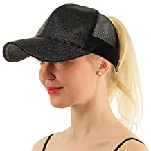 Ymombest Ponytail Baseball Cap Messy High Bun Adjustable Mesh Trucker Sun Hat
