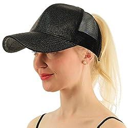 Coco Lee Chic Glitter Black Baseball Cap For High Ponytail Women?��s Messy Bun Glitter Trucker Baseball Cap For Women Girl