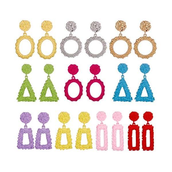 Kerrian Online Fashions 51EBIzLjPYL 10 Pairs Mixed Wholesale Gold/Silver Raised Design Statement Earrings Punk Style Drop Earrings for Women Geometric-Shaped Chunky Metal Fashing Eardrops Lightweight Big Dangle Earrings Set