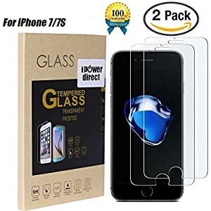 """iPowerdirect 2 Pack Real Temper Glass Screen Protector For Apple iPhone 7 7S 4.7"""" 9H Hardness Premium Quality Ultra Thin 0.3MM Sensitive Touch Bubble Free"""