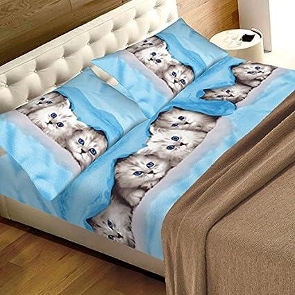 Completo sábana sábanas Naturaleza Gato Gatos Azul – 1 plaza