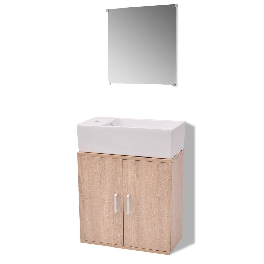 VidaXL 3tlg. Badmöbel Badmöbel Badmöbel Set Waschbecken Spiegel Waschtisch Unterschrank Badezimmer dacfbc