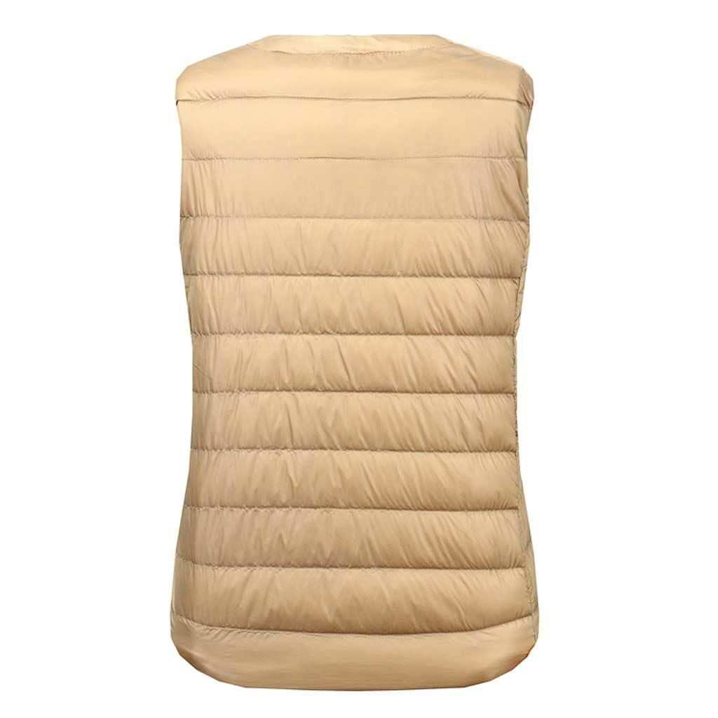 Down Vest Womens Lightweight Thin Sleeveless Short Winter Large Size Adult Casual No Cap Color : Champagne, Size : XXXXL