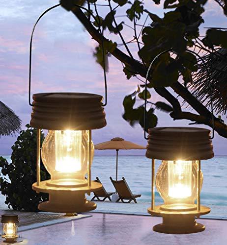 pearlstar Multifunctional Solar Led Hanging Umbrella Lantern Lights 2 Pack Garden Outdoor Pathway Lights Vintage Beach Pavilion Lanterns (2 Pack Warm Lights, Hanging Design)