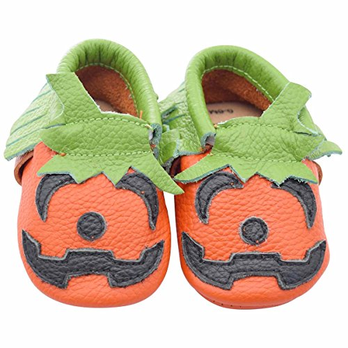 [Unique Baby Limited Edition Genuine Leather Halloween Moccasins Pumpkin 18-24 Months] (20 Off Spirit Halloween)