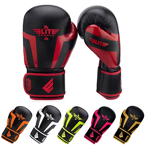 Elite Sports NEW ITEM Standard Adult Kickboxing, Muay Thai Gel Sparring Training Boxing Gloves (Red 12oz)
