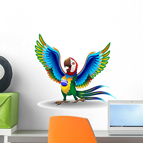 (Wallmonkeys WM83216 Macaw Cartoon with Brazil Flag Colors Peel and Stick Wall Decals H x 18 in W, 18