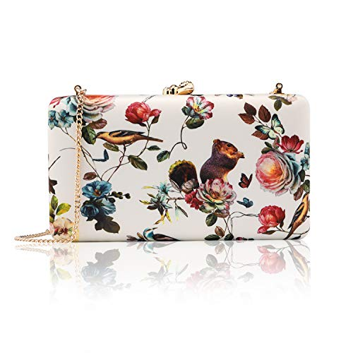 two the nines Women's Floral Print Satin Evening Bag Clutches Thin Chain Hardcase Purses White