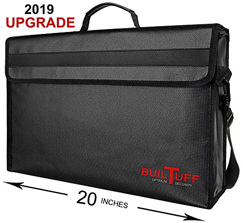 XXXL Fireproof Document Bags 20x13x5 Holds Legal Size Large Files and Documents Without Bending. Fireproof Safe, Water Resistant Document Bag for Passport, Jewelry, Money,Valuables.BuilTuff 20x13x5