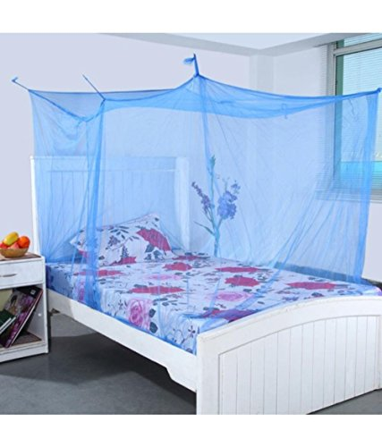 Shahji creation Double Bed Mosquito Net with Cotton brodar 6X6.5 Feet Blue Color