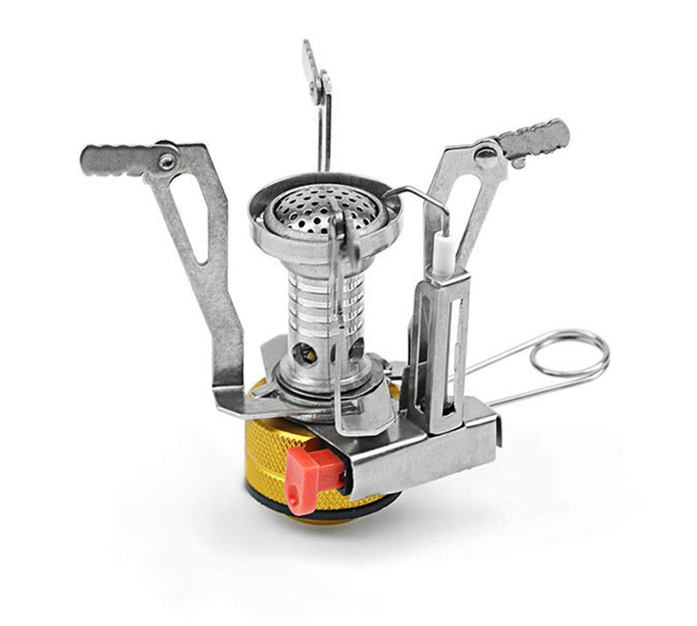 Pacific Rayne Camping Stove Portable Outdoor Mini Gas Stove for Backpacking Camping and Hiking Featuring Ultralight Design with Easy to Use Piezo Spark Ignition