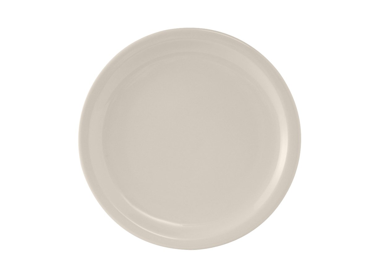 "Tuxton TNR-016 Vitrified China Nevada Plate, 10-1/2"", Eggshell Narrow Rim (Pack of 12), Oven-Microwave-Pressure Cooker Safe; Freezer to Oven Safe"