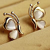 Sumanee Women Jewelry Gold Plated White Opal Stone Ear Stud Earrings