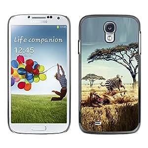 Be Good Phone Accessory // Dura Cáscara cubierta Protectora Caso Carcasa Funda de Protección para Samsung Galaxy S4 I9500 // Safari Zebra Lion Africa Wild Animal Trees