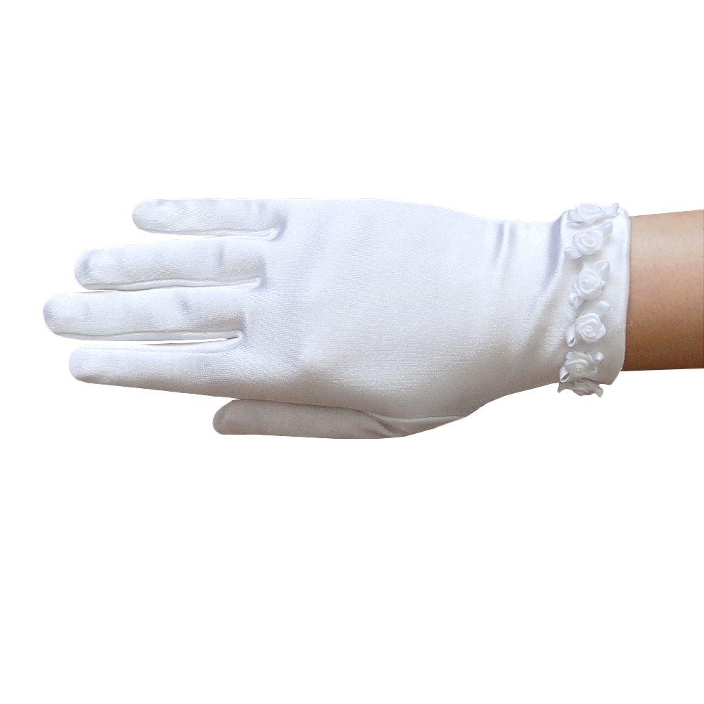 ZaZa Bridal Girl's Satin Gloves with small Rosebuds Accent Trim- Girl's Size Medium (8-12yrs)/White