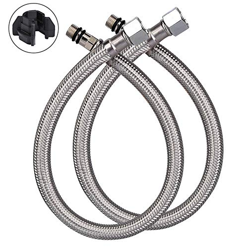 HOMEIDEAS 16-Inch Faucet Connector 3/8-Inch Female Compression Thread x M10 Male Braided Stainless Steel Supply Hose Connector Replacement Pack of 2(1 Pair) (Female Compression Connector)