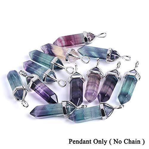 VATT Fluorite Necklace Pendant Natural Gem Stone Quartz Bullet Hexagonal Point Pendulum Column Reiki Healing Chakra Jewelry 1PC Colorful Pendant